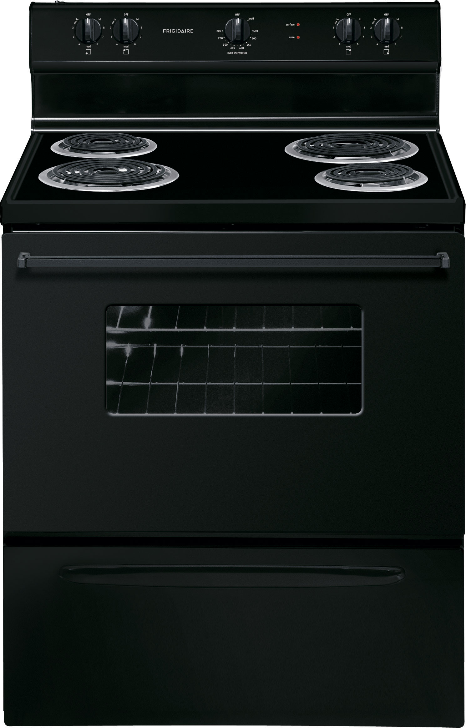 <D> FRIGIDAIRE FFEF3005MB RANGE 30 4.2CF ELECTRIC MANUAL CLEAN COIL TOP-6/8-WINDOW-STORAGE DRAWER BLACK