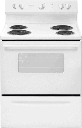 <D> FRIGIDAIRE FFEF3005MW RANGE 30 4.2CF ELECTRIC MANUAL CLEAN COIL TOP-6/8-WINDOW-STORAGE DRAWER WHITE